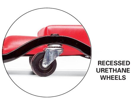 <b>Urethane wheels</b></br> Recessed urethane wheels offer a smoother ride.