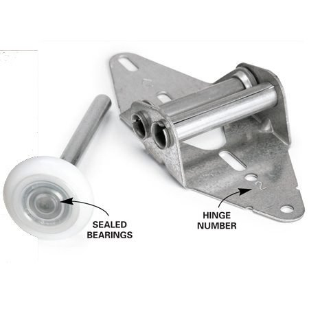 <b>Photo 3: Install new hinges</b></br> Write down the number that's stamped into the hinge and pick up the same number replacement hinge at the hardware store. Or take the old hinge with you to match it up.