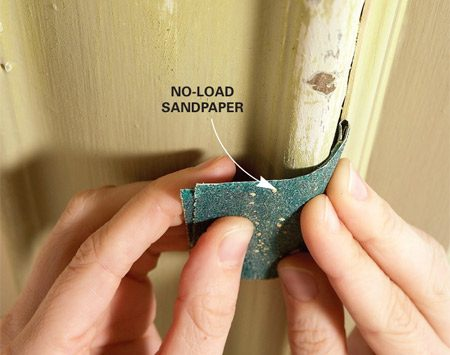 <b>Sand all moldings</b><br/>Smooth all rough spots with sandpaper.