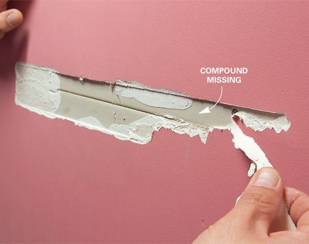 <b>Photo 1: Cut away loose tape</b></br> Cut away loose tape with a utility knife. Be aggressive and cut past where the tape has lifted away from the wall.