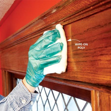 <b>Photo 8: Wipe on polyurethane</b></br> Restore the shine with a fresh coat of polyurethane. Wipe on poly gives you a faster, smoother finish with less mess than brush-on poly.