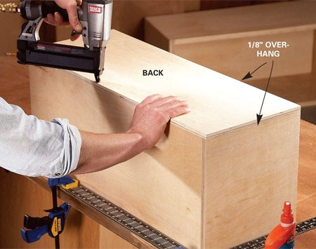 <b>Photo 2: Glue and nail the inner box</b><br/>Glue and nail the box together, using a framing square to hold it square. Make the back 1/8 in. larger than the box, then glue and nail it in place and rout any overhangs (Photo 4).