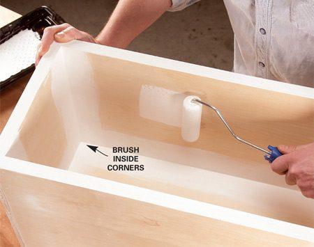 <b>Photo 6: Prime and paint</b></br> Prime the box, brushing the inside corners first. For a fast, smooth finish on the rest of the box, use a small roller. Then sand the primer, and paint using the same method.