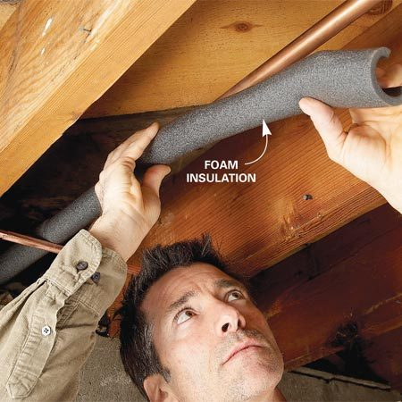 <b>Photo 3: Insulate pipes</b><br/>Cover cold water pipes with foam pipe insulation to stop condensation. The foam insulation is inexpensive, and easy to cut with scissors.