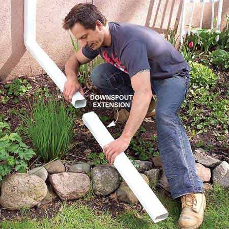 <b>Photo 5: Downspout extensions</b><br/>Add downspout extensions to carry rainwater at least 6 ft. away from the foundation.