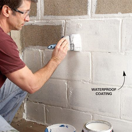 <b>Photo 7: Waterproof walls</b><br/>Brush a waterproof coating onto basement walls. Brush the coating in all directions to completely fill every pinhole. Add a second coat after the first dries.