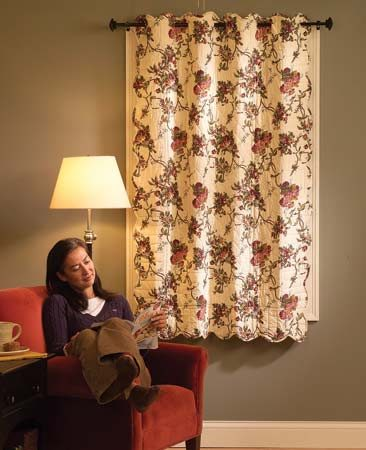 <b>Stop drafts</b></br> Quilted curtains cover drafty windows, making your room feel warmer at a lower temperature.