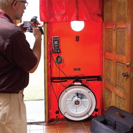 <b>Blower door test</b></br> The auditor closes all doors and windows, then inserts a blower in the doorway to test for air leakage.