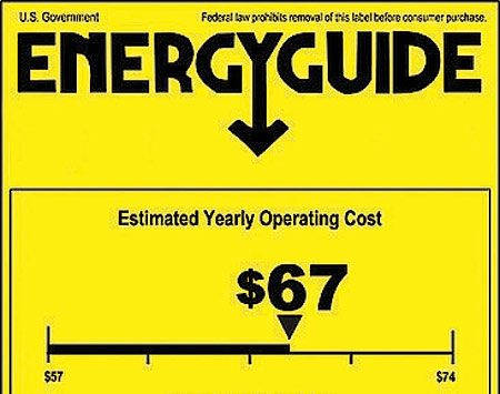 <b>Energy guide</b></br> All major appliances come with stickers showing energy use.