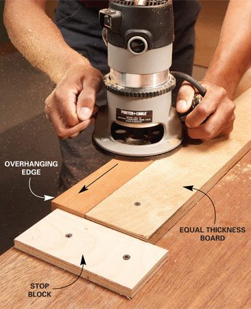 <b>Lock small pieces in place</b><br/>Narrow strips are difficult to rout because clamps get in the way. The solution is to screw blocks to your workbench to corral the strip of wood. If you're routing a thin piece of wood, the bearing on the router bit will most likely extend below the piece of wood you're routing. In this case, hang the piece of wood over the edge of the bench at least 1/4 in. so the bit doesn't hit the workbench. Screw a strip of equal thickness behind the long edge of the narrow strip you're routing. Then screw a thinner stop block at the end to keep the board from sliding.
