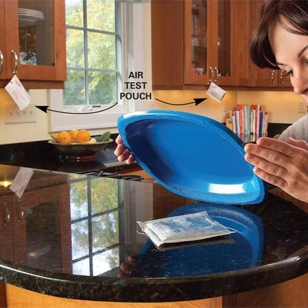 <b>Place test pouches</b></br> Set up the test pouches around the countertop, as directed by the test kit instructions.