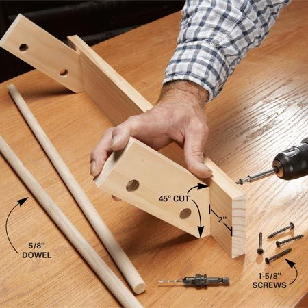 <b>Photo 2: Screw the pieces together</b></br> Predrill through the back of the 1x4 into the 1x3 supports, then glue and screw the pieces together