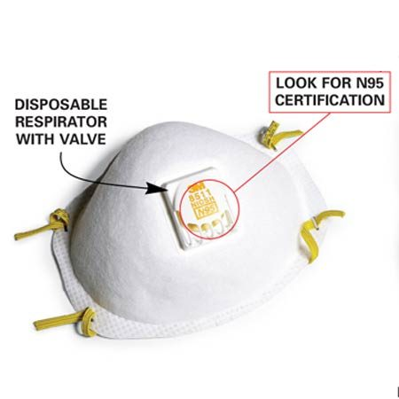 <b>N95 mask with valve</b></br> More expensive masks offer additional comfort features like an exhalation valve.