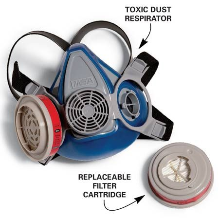 <b>Half-mask respirator</b><br/>For the highest level of protection against dust, consider investing in a heavy-duty respirator with replaceable filters.