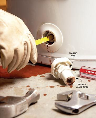 <b>Photo 1: Remove the valve</b></br> Remove the old valve. If it breaks off, saw the broken portion with a hacksaw blade until you hit metal threads. Then use a hammer and screwdriver to chip out the pieces.