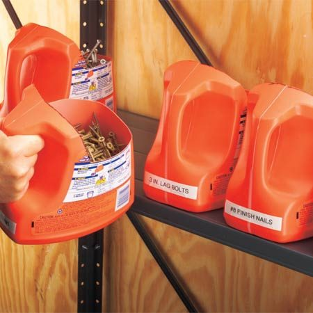 <b>Reuse plastic containers</b></br> You can drop a few bills buying storage totes for supplies like nails, screws and plumbing parts. Or you can make your own with laundry detergent jugs and a utility knife. They're big, tough and mobile—and they'll make your workshop stink nice.