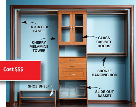 "<b>Laminate storage system</b></br> <p><strong>Pros</strong> <ul>  <li>Available in 3/4-in.  particleboard with a tough baked-on (or ""thermally fused"") Melamine resin  coating.</li> <li>Offers a wide variety of drawers, doors and finishes. </li> <li>Sleek, built-in look.</li> <li>Telescoping poles and  predrilled holes allow you to easily add shelves and accessories.</li>  </ul>    <strong>Cons</strong>   <ul> <li>Twice the price of  wire systems.</li> <li>Coating on least  expensive versions scratches and chips more easily.</li> <li>Heavy objects may  cause laminate to sag over time, and the particleboard core won't stand up to  moisture.</li> </ul>  </p>"