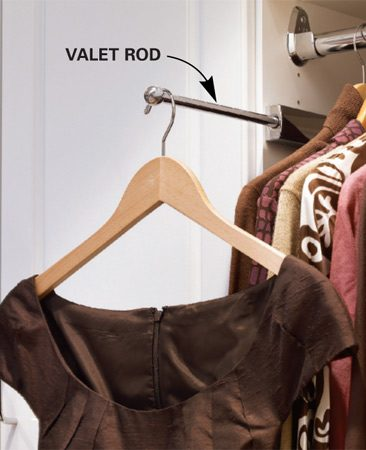 <b>Browse closet accessories online</b></br> Home centers will have a limited choice of accessories. Go online for a wider selection such as valet rods, pullout hampers and jewelry inserts.