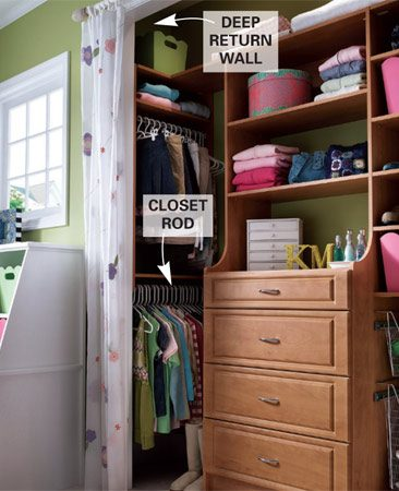 <b>Get easy access to hidden spaces</b></br> If your closet has a deep return wall (more than 24 in.), you can take advantage of that hard-to-use space by installing a hanging rod so that it runs the depth of the closet.
