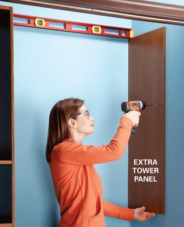 <b>Add flexibility with panels</b></br> Attach an extra tower panel to the closet side walls and cut your shelving 1/2 in. shorter to attach to the panel. The predrilled holes in the panels will allow you to easily move or add shelves and accessories to customize the closet now and in the future.