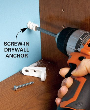 <b>Buy your own drywall anchors</b></br> Instead of using the toggle bolts or drywall anchors included with most kits, buy your own screw-type drywall anchors to attach shelf brackets and posts. That will give you the strongest hold.
