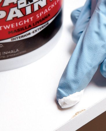 "<b>Putty fixes chips and scratches</b></br> If the Melamine coating gets chipped or scratched, dab on spackle (for white Melamine) or a matching wood putty for nearly invisible repairs. This will also fill a ""whoops"" drill hole in a shelf or cabinet."