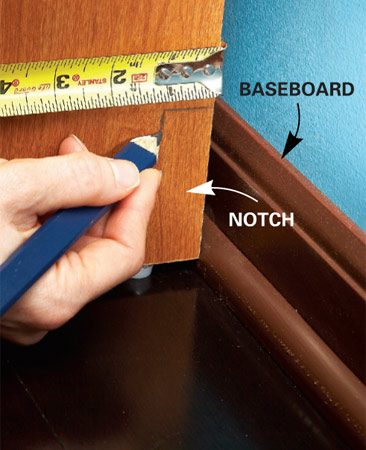 "<b>Notch the base for a custom fit</b></br> To achieve a ""built-in"" look with laminate, notch the bottom of the base tower panel sections so the tower hugs the closet wall. This will also stabilize the entire system."