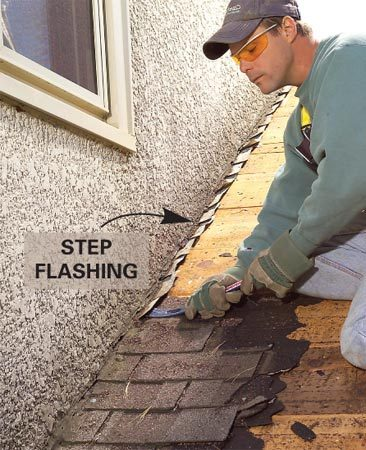 <b>Step flashing</b></br> Leaks often originate at rusted flashing, and it should usually be replaced.