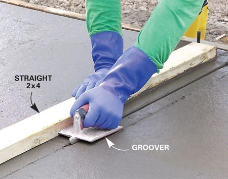 <b>Control joint</b></br> Control joints are an essential part of any slab, and should be no more than 10 feet apart.