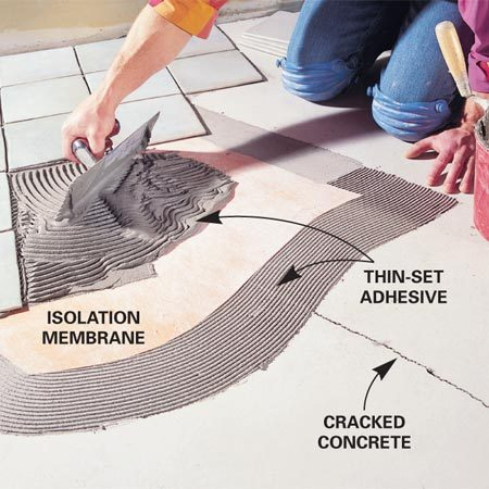 <b>Crack isolation membrane</b></br> Cracks in a concrete subfloor will eventually appear in the finished tiles unless they're covered with a crack isolation membrane.