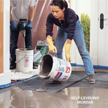 <b>Level uneven floors</b></br> Uneven subfloors should be leveled before the tile is laid—the thinset mortar used to adhere tiles is not meant to be used to level out the floor.