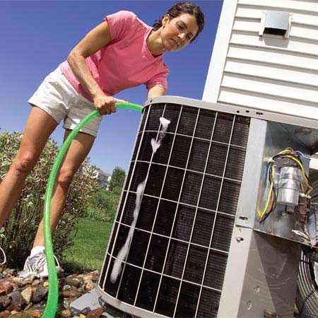 <b>Air conditioner maintenance</b></br> The best way to keep your air conditioner running at peak efficiency is to spend a couple of hours each year on basic maintenance—cleaning and straightening the fins, changing the filter and lubricating the motor.