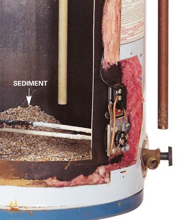 <b>Photo 2: Drain sediment</b></br> Sediment lowers the efficiency of your water heater. Turn off the power, hook up a hose to the drain valve and drain the tank every 6 to 12 months.