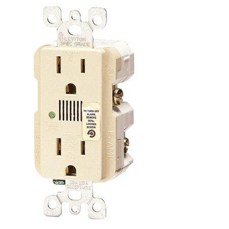 <b>Surge protector receptacle</b></br> This surge protection duplex receptacle has an LED signal and an audible alarm that alert you when it needs to be replaced.