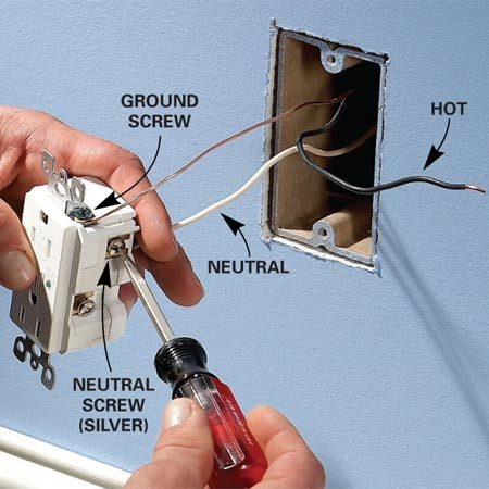 <b>Tighten wires</b></br> To install, strip the insulation from the last 1/2 in. of the wires. Insert each wire into the appropriate hole in the new receptacle and tighten the terminal screws securely.