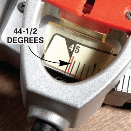 <b>The solution</b><br/>Adjust the angle of the cut slightly to remove a fraction of an inch from the part of the miter that's touching. Adjustments of 1/2 degree or less are usually all that's needed.