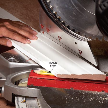 <b>The solution</b><br/>Cut a back bevel by shimming the trim slightly or (on compound miter saws) by tilting the blade slightly.