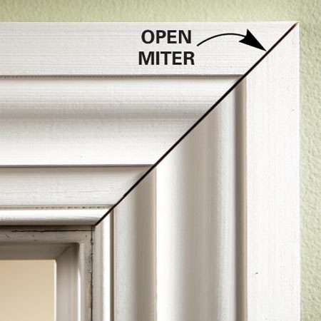 <b>The problem</b><br/>Cut a back bevel on miter joints that are open in front but touching at the back. To create a back-beveled cut on a standard miter saw, place a pencil under the molding. If you have a compound miter box, tilt the blade a degree or two to cut the back bevel.