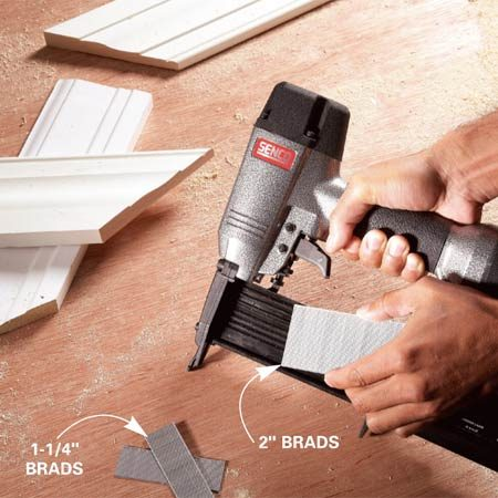<b>Good tools</b><br/>It's hard to beat a nail gun for perfect miters, especially if you're not skilled with a hammer. Trim nail guns allow you to hold the moldings in perfect alignment while you pin them in place. If you can afford only one trim gun, buy one that shoots thin 18-gauge nails up to 2 in. long. Fifteen- and 16-gauge nailers are good where more strength is needed, such as for nailing jambs, but the thicker brads make larger, more conspicuous holes and can crack thin moldings. Use shorter brads to nail the molding to the jamb, and long brads along the outside edges.