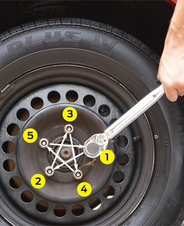 <b>Photo 2</b></br> Reset the wrench and tighten each nut to full torque. Move the socket from one nut to the next in a