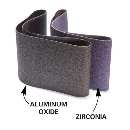 <b>Sanding belts</b></br> Both types work well, but many prefer the more aggressive zirconia belts for 80-grit size and coarser.