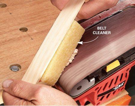 Cleaning a sander belt