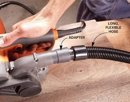<b>Better dust collection</b></br> <p>The bag on a belt sander  provides decent dust collection, but with a little fiddling you   can attach a long, soft  hose and a shop vacuum to your belt sander. The payoff: no bag   emptying and almost no dust  in the air.</p>