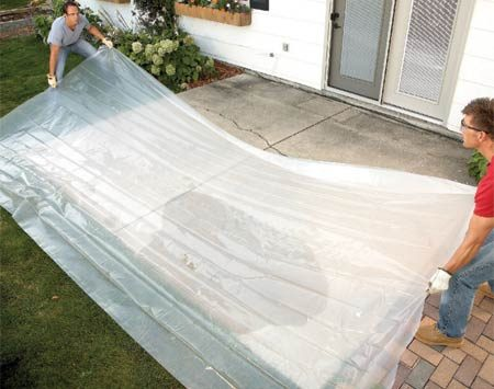 <b>Cover the slab</b></br> Stop flying chunks of concrete with a sheet of plastic. Concrete shrapnel can damage siding and break windows, and it's a real chore to clean up.