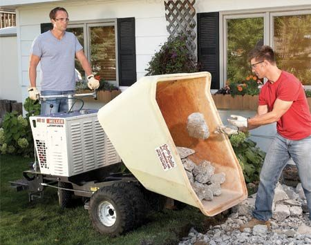<b>Power wheelbarrow</b></br> A rented power wheelbarrow makes rubble removal a breeze—especially if you can find someone else to do the loading.