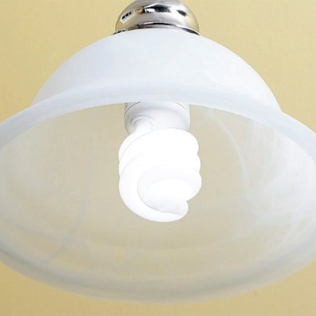 <b>CFL in hanging fixture</b></br> Standard incandescent bulbs give off a lot more heat than CFLs.