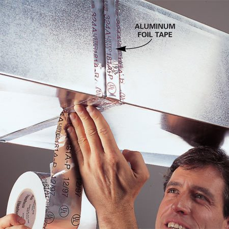 <b>Seal forced air ducts</b></br> Use special foil tape to seal joints in cooling and heating ducts.