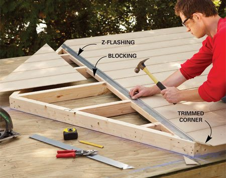 <b>Photo 2: Attach flashing over the siding seam</b></br> Nail siding to the walls before you stand them up. Cover the horizontal seam with metal Z-flashing to keep out water.