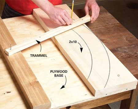 <b>Photo 12: Mark the window arches</b></br> Mark out the arched window trim using a simple trammel. Use the same setup for marking the curved 2x10 header and the curved bracket support.