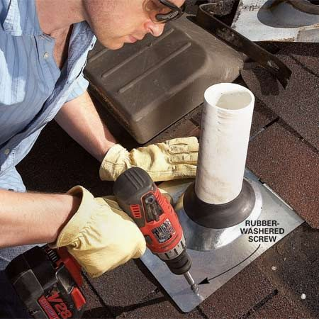 <b>Photo 2: Vent boot solution</b></br> Replace the old boot. Screw the base to the roof with rubber-washered screws. Don't use nails. They'll only work loose over time.